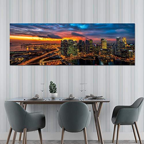 City Night HD Affiche Et Impression Peinture Mur pour Salon Mur Artiste Résidence Résidence Décoration (sans Cadre) R1 60x180CM
