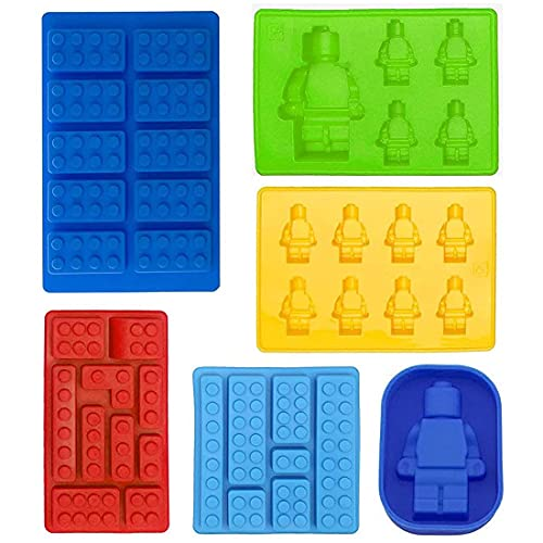 Building Brick Candy Robot M Chocolate MSet Silicone Block M Ice Cube Trays for Making Melted Chocolate Fondant Jelly Dome Mousse(6 Park)