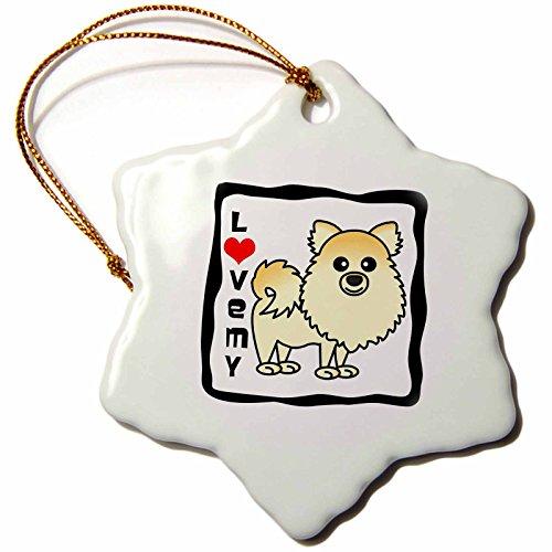 3dRose ORN 10827_ 1I Love My Pomeranian Creme Porzellan Schneeflocke Ornament, 3Zoll