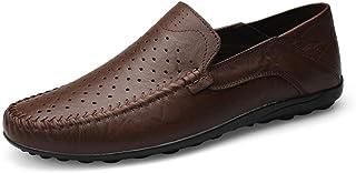 [MUMUWU] ビジネスシューズ 革 柔軟 クラシック シンプル 男性靴 軽量 通気 モカシン ビジネスシューズ (Color : Hollow Dark Brown, サイズ : 27.5 CM)