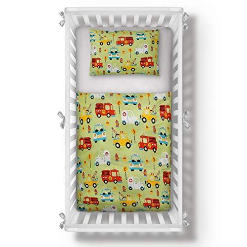 Aminata Kids Kinderbettwäsche 100 x 135 Junge Auto-Motiv Autos, Jungen, Baumwolle mit Reißverschluss, Kinder-Baby-Bettwäsche-Set, kuschelig, bunt, grün & Abschlepp-Wagen, Polizei Feuerwehr-Auto
