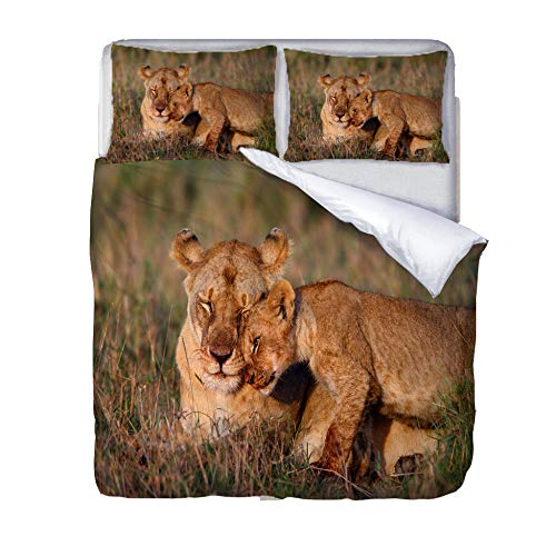 JKZHILOVE Duvet cover 79x79 inch Lion mother and son 3D printing Ultra Soft Hypoallergenic 100% Microfiber Easy Care All season Bedding with 2 Pillowcases (20x30 inch)