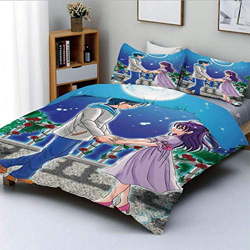 Juego de funda nórdica, ilustración de una pareja romántica tomados de la mano bajo el amor de la luz de la luna en el estampado temático Manga Juego de cama decorativo de 3 piezas con 2 fundas de alm