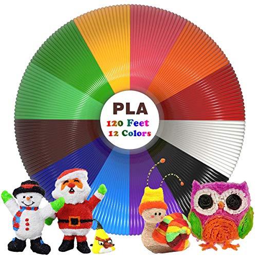 Filamentos Lapiz 3D PLA, Rilitor Filamento de pluma 3D 12 Colores 1,75 mm, 3M por Color, Apto para Mayoría de 3D Plumas e 3D Impresoras
