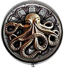 Steampunk Octopus,Octopus Goth Jewelry - Art Photo Pill Box - Charm Pill Box - Glass Candy Box