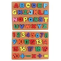 木製ジグソーパズルボードキッズ/ベビー認知玩具番号&大文字
