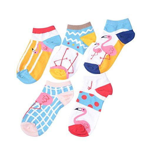 FENICAL Calcetines de mujer de 5 pares Calcetines cortos de algodón de cuatro temporadas Calcetines ocasionales de antideslizante de Flamingo encantador de la historieta (estilo Assoted)