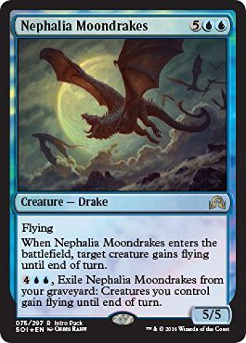 Magic the Gathering: MTG Shadows over Innistrad: Intro Pack / Theme Deck: Unearthed Secrets (includes 2 Booster Packs & Alternate Art Premium Rare Promo) Blue / Green - Nephalia Moondrakes