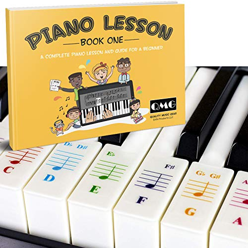 Color Piano and Keyboard Stickers and Complete Color Note Piano Music Lesson and Guide Book for Kids and Beginners; Designed and Printed in USA
