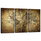 EAVUTY Vintage World Map Wall Art Canvas Retro Map of The World Canvas Wall Decor Posters Painting Prints Picture Framed 3 Panels for Living Room Bedroom Office School Ready to Hang(16
