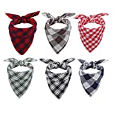 TANG-CN Dog Bandana, Thickened Square Triangle Plaid Dog Kerchief Set, Quick-Drying Dog Bibs Scarf for Small Medium Large Dogs Puppy Cats, Red, Green, Black, Brown, Yellow and Blue