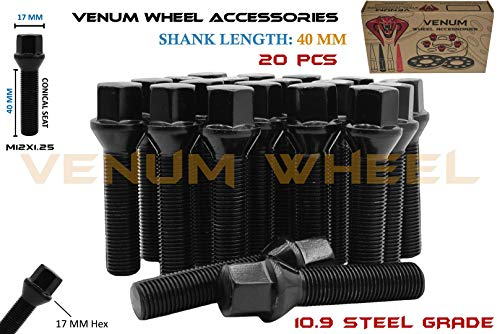 Complete Set of M12x1.25 Black Powder Coated Tapered Conical Seat Lug Bolts 40 MM Extended Shank Length Works With Jeep Fiat Dodge Chrysler Alfa Romeo Factory & Aftermarket Wheels