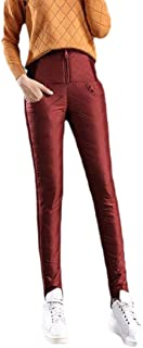 Womens High Waist Trousers Thickened Zip Cotton-Padded Pant
