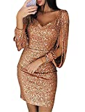 Andongnywell Women's Sparkle Glitzy Glam Sequin V Neck Long Sleeve Part Dress Sequins Glitters Sexy Mini Dresses (Rose Gold,XX-Large)