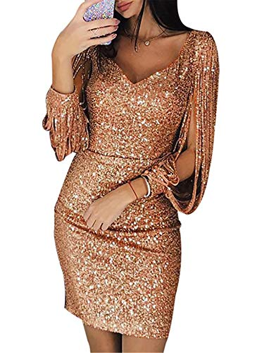 Generic Andongnywell Women's Sparkle Glitzy Glam Sequin V Neck Long Sleeve Part Dress Sequins Glitters Sexy Mini Dresses (Rose Gold,Large)