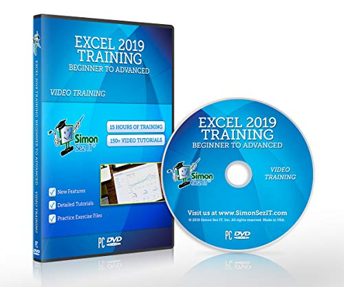 Excel 2019 Training DVD by Simon Sez IT: Excel Tutorial For Absolute Beginners to Advanced Users – Excel Course Including Exercise Files