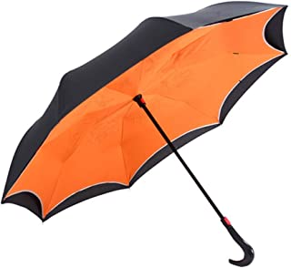 JPFXS Fashion Double Layer Inverted Windproof Umbrellas Semi-Automatic Double Anti-UV Parasol Car Creative Practical Umbrella (Color : E)