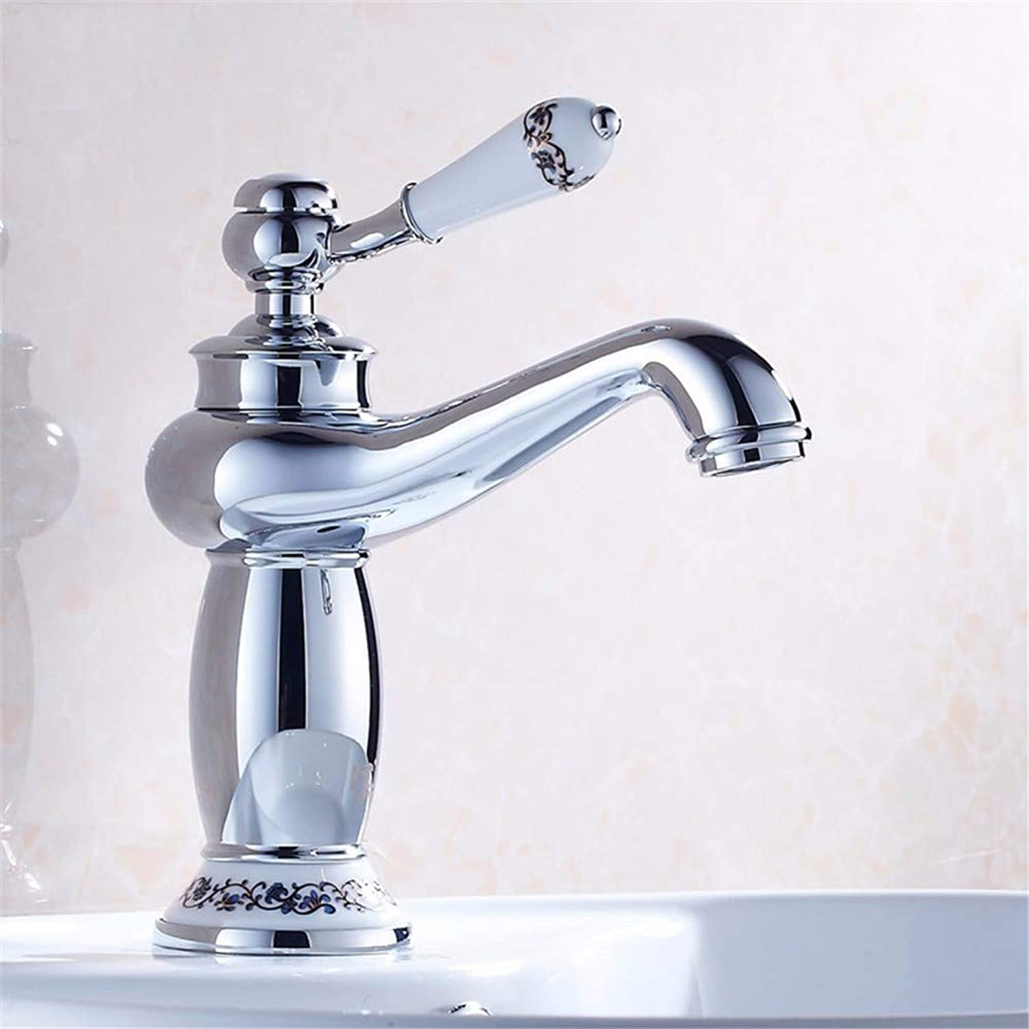 Pyty123-Faucet Washbasin Faucet Hot And Cold Water Faucet Basin Faucet European American Vintage bluee And White Porcelain Washbasin, Chrome