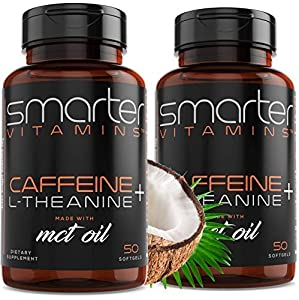 *** 2 BOTTLES *** CAFFEINE SUPPLEMENT BENEFITS - Clean Smooth Mental Focus, Energy and Heightened Mind Alertness without the tingling feeling and the crash of energy drinks and coffee. L Theanine Caffeine Nootropic Stack for Cognitive Performance. Ca...
