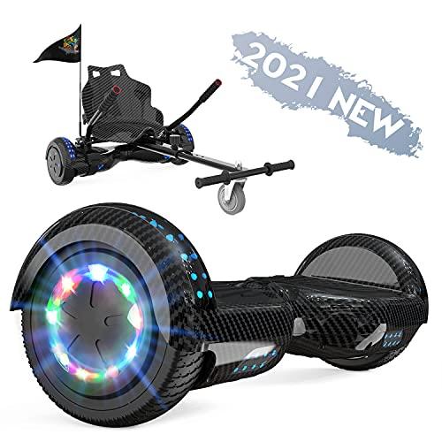 FUNDOT Hoverboards con Asiento,Hoverboards con Silla,hoverkart para Hoverboards 6.5 Pulgadas, Hoverboards con Hermosas Luces LED, Hoverboardss con Altavoz Bluetooth, Regalo para niños