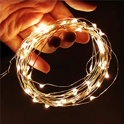 RO 10M LED String Lights Silver Wire Christmas Garlands Festoon led Fairy Light Christmas Decorations for Home Room Tree (Warm White)
