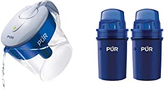 PUR CR1100CV Classic Water Filter Pitcher Filtration System, 11 Cup & Faster Basic Water Pitcher Replacement Filter (Pack ...
