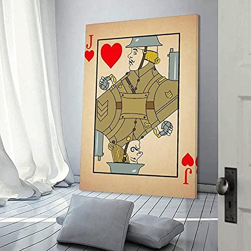 Canvas konstverk 50 x 70 cm (19,7 x 27,6 tum) ingen ram Jack of Hearts spelkort soldat granat Spoof cool psykedelisk hippie rum dekor tryckt affisch
