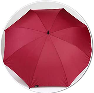 Household Umbrella Long Handle Men's Large Umbrella Double Reinforced Umbrella Solid Color Business Umbrella Black, Blue, Red HYBKY (Color : Red)