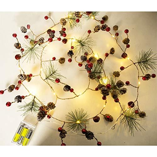 Ysoom Cadena de piñas de abeto, 20 LED, guirnalda de luces para Navidad, decoración de piñas de abeto, guirnalda de cobre para árbol de Navidad, hogar, boda, 2 m