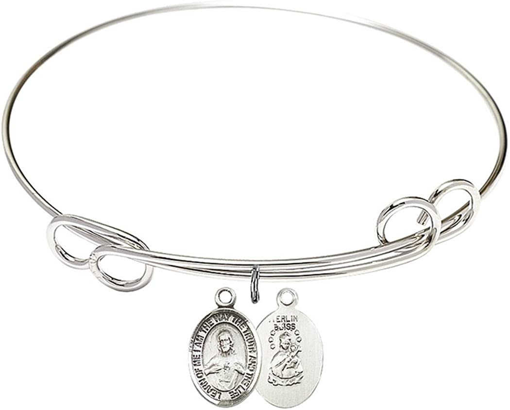 Rhodium Plate Double Loop Bangle Sacred Scap with Bracelet Heart Max 41% OFF In a popularity