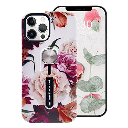 Omio Compatible with iPhone 12 Pro Flower Case Peony Roses Flowers Print Floral Tree Pattern Cover Finger Ring Loop Strap Grip Holder Kickstand Stand Ultra Thin Slim Protective Shockproof Dual Layer