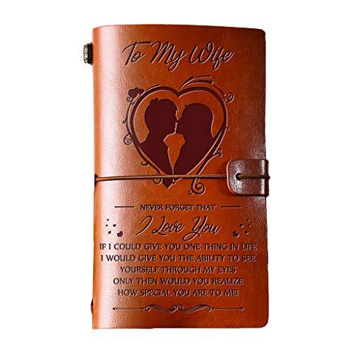 TCM-KE Elegante diario hecho a mano de piel grabada, cuaderno de mensajes, cuaderno de notas, cuaderno encuadernado de cuero, cuaderno, bloc de notas