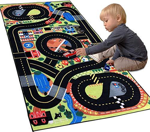 Siela AutoTeppich Kinder Junge, Straßenteppich, Spielteppich für Kinderzimmer, Teppiche für Mädchen, Junge Waschbar, rutschfest (80 x 150 cm)