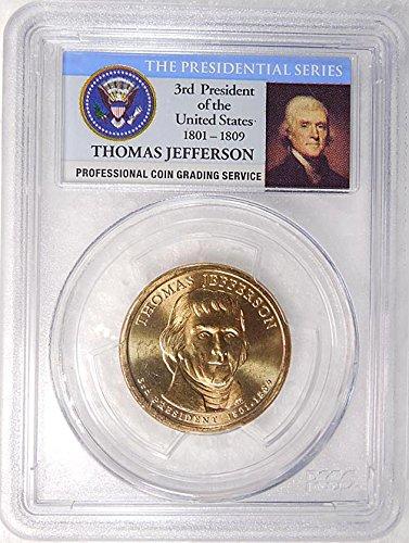 2007 P Pos. A Thomas Jefferson Presidential Dollar PCGS MS 65 FDI Presidential Label Holder