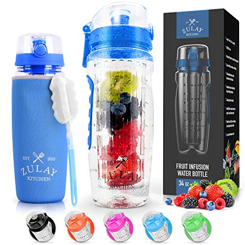 Zulay (34oz Capacity) Fruit Infuser Water Bottle With Sleeve - BPA Free Anti-Slip Grip & Flip Top Lid Infused Water Bottles for Women & Men - Water Infusion Bottle With Cleaning Brush - Ocean Blue