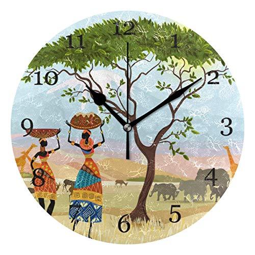 Kncsru Reloj de Pared de montaña Elepahant para Mujer de África, Reloj Redondo silencioso sin tictac de 9,8 Pulgadas, Pintura artística, decoración para el hogar, la Oficina y la Escuela
