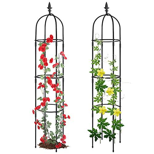 Garden Obelisk Trellis for Climbing Plants, Rustproof Plastic Coated Metal Plant Support, Garden Tower Trellis Indoor Potted Plant, Tomato Plant Cage for Support Rose, Vegetable Vines(2 Pack)