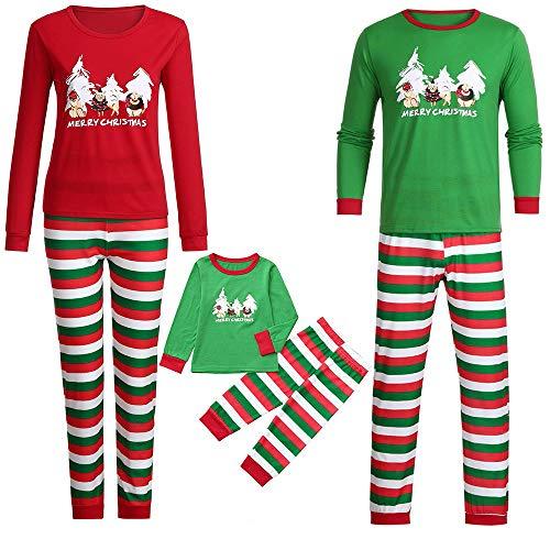Holeider Weihnachten Pyjama Familie Schlafanzug Familien Outfit Mutter Vater Kind Soft Elegant Tops und Gestreift Hose Homewear Set Weihnachts Nachtwäsche Nachthemd Weihnachtskostüm