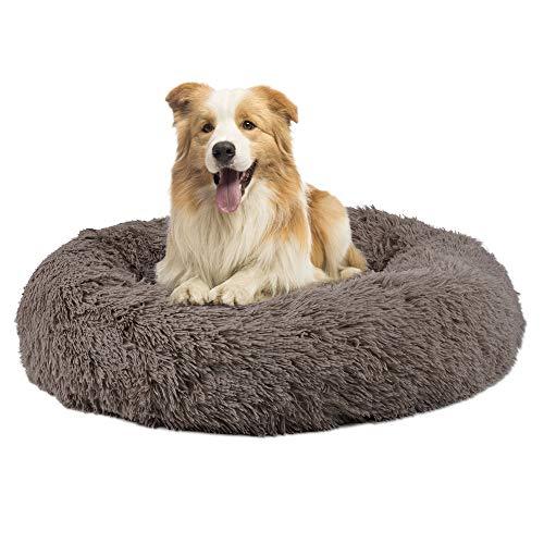 Brthspob Cama Perros Redonda cojín Gatos sofá para Perros Donut Camas de Gatos Perros de Donut con Parte Inferior Antideslizante, Cómodo Suave y Cálida Cama