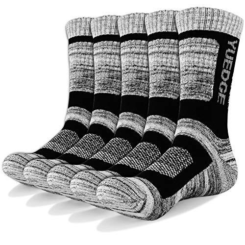 YUEDGE Wandersocken, 3/5 Paar atmungsaktive Laufsocken für Herren, Sport Socken mit Sohle und Knöchel, Anti-Blister Trainersocken Black XL