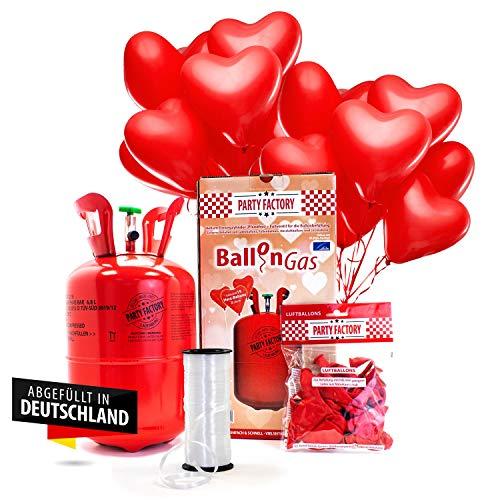 Party Factory Helium Ballongas Set Herz Edition inklusive 15 Herzballons aus Latex, 30cm und Ballonschnur für Valentinstag