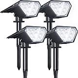 Biling Focos solares para exteriores,2 en 1 luces solares para paisajes,12 bombillas LED, IP67 luces solares impermeables, luz de pared ajustable para patio, jardín,piscina- (4pc-Blanco)