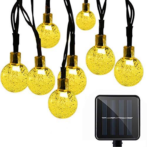 YLSMN Luz de bola de cristal LED cadena de bola de burbuja luz de batería solar al aire libre impermeable vacaciones pequeñas luces control remoto lampara de mesa