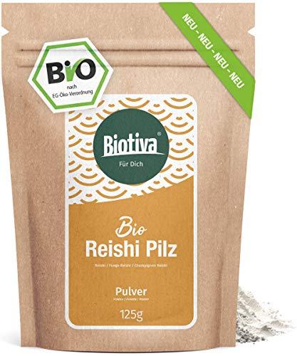 Reishi Pulver Bio 125g - Ganoderma lucidum - Glänzende Lackporling - Vitalpilz - Pilz der Unsterblichkeit - ohne Zusätze - Vegan - Abgefüllt in Deutschland (DE-ÖKO-005)