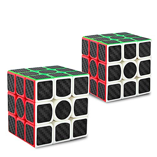 Didisky Cubo Magico 3x3, miglior Regalo di Puzzle Magico Giocattolo, Puzzle Magico, 3x3x3 Gioco di cubi di velocità Internazionale Perfetto, Adesivo in Fibra di Carbonio (Nero) [ 2 Pezzi ]