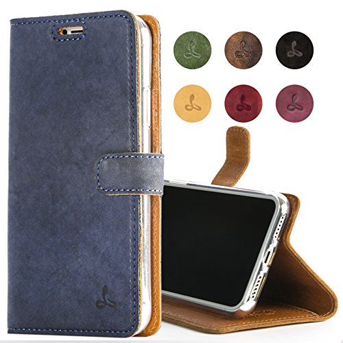 Snakehive iPhone 7 Case, Genuine Leather Wallet with Viewing Stand and Card Slots, Flip Cover Gift Boxed and Handmade in Europe for iPhone 7 - Navy Blue