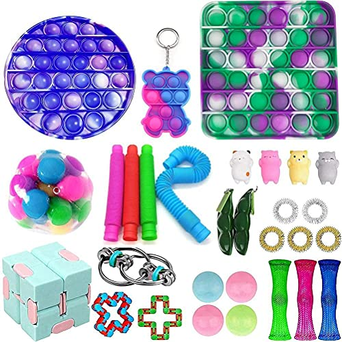 Fidget Toys, 30Pack Sensory Toys for for Autism, 2 Push Pop Bubble,1 Simple Dimple,1 Stress Balls ,4 Pop Tubes,3 Marble Mesh,4 Sticky Balls,2 Wacky Tracks etc,Goodie Bag Fillers