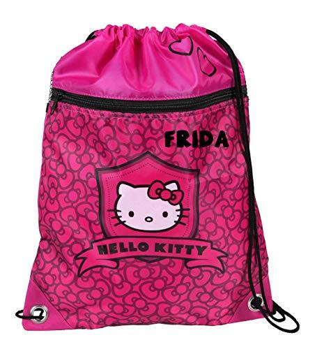 Hello Kitty Turnbeutel mit Namen, Schuhbeutel mit Namen, Sportbeutel Bedrucken und Personalisieren