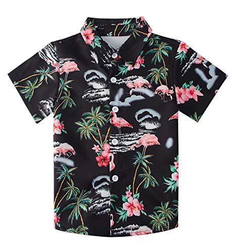 Newistar - Camisa hawaiana para niños y adolescentes con estampado 3D de manga corta y botones