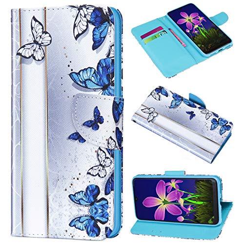 Saceebe Compatible avec iPhone XS/iPhone X Coque en Cuir Flip Portefeuille Housse Couleur Rétro Motif Étui de Protection Magnétique Porte-Cartes Stand Support à Rabat,Papillon Bleu